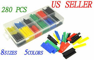 New 280pcs 5 Colors 8 Sizes Assorted 2 1 Heat Shrink Tubing Wrap Sleeve Kit