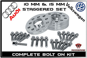4 Pc Audi Volkswagen Staggered 10 Mm 15 Mm Wheel Spacers 5x100 5x112 57 1 H b