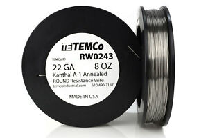 Temco Kanthal A1 Wire 22 Gauge 8 Oz 320 5 Ft Resistance Awg A 1 Ga