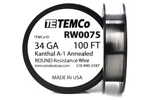 Temco Kanthal A1 Wire 34 Gauge 100 Ft Resistance Awg A 1 Ga