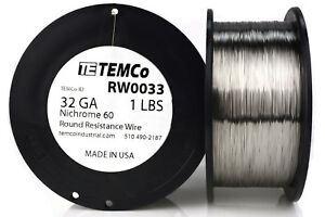 Temco Nichrome 60 Series Wire 32 Gauge 1 Lb 5565 Ft resistance Awg Ga