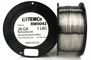 Temco Nichrome 60 Series Wire 26 Gauge 1 Lb 1413 Ft resistance Awg Ga