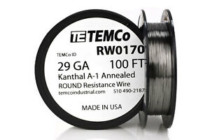 Temco Kanthal A1 Wire 29 Gauge 100 Ft Resistance Awg A 1 Ga