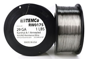 Temco Kanthal A1 Wire 29 Gauge 1 Lb 3226 Ft Resistance Awg A 1 Ga