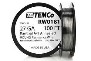 Temco Kanthal A1 Wire 27 Gauge 100 Ft Resistance Awg A 1 Ga