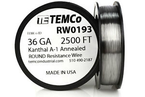 Temco Kanthal A1 Wire 36 Gauge 2500 Ft Resistance Awg A 1 Ga