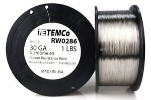 Temco Nichrome 60 Series Wire 30 Gauge 1 Lb 3584 Ft resistance Awg Ga