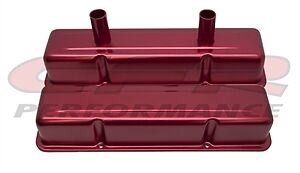 Aluminum Tall Valve Covers Chevy Small Blcok Circle Track 283 400 Anodized Red