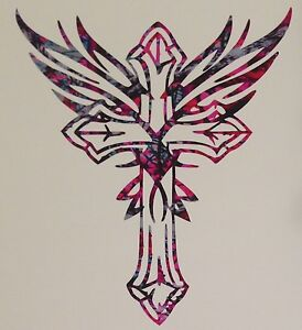 Tribal Cross Wings Vinyl Decal 5 Truck Blue Camo Cowgirl Muddy Country Girl