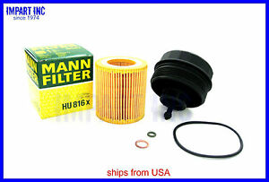 Bmw Oil Filter Housing Cover Cap New 11 42 7 525 334 With Mann Filter Hu816x