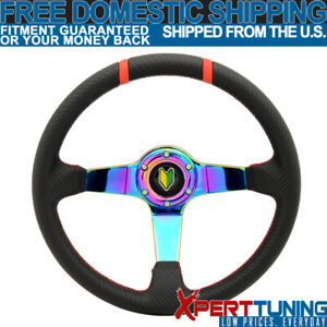 Fit For 350mm Black Cf Red Stitches Neo Spoke Racing Steering Wheel Bd Logo