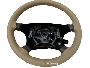 Fits Ford Mustang 4 Genuine Beige Italian Leather Steering Wheel Cover 1994 2004
