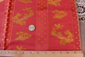 French Antique Silk Brocade Chinoiserie Sample Fabric C1900 26 Lx21 W