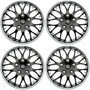 Set 4 Piece Hub Caps Ice Black Chrome Trim 14 Inch Rim Wheel Covers Cap Cover