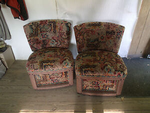 Pair 1960 S Era Slipper Chairs Art Deco
