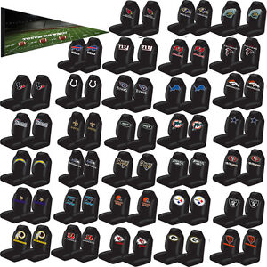 2pc Nfl Teams Black Universal Car Truck High Back Bucket Front Seat Cover Set