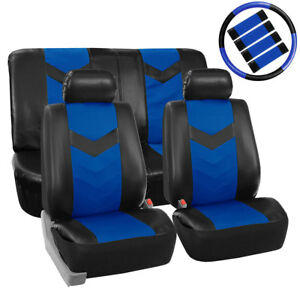 Luxury Pu Leather Front Rear Car Seat Cover Blue For Car Truck