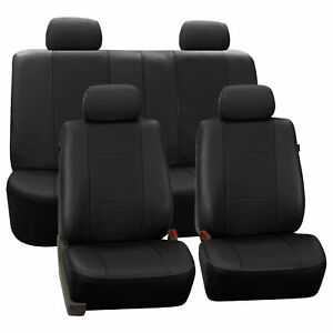 Black Pu Faux Leather Car Seat Cover Set Headrests Steering Wheel Full Set