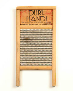 Vintage Dubl Handi Primitive Washboard Wood Metal Columbus Washboard Co