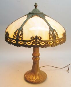 Superb Antique American Art Nouveau Slag Glass Lamp C 1910 Panel Leaded