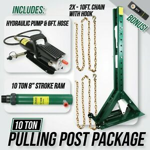 Jackco Pulling Power Post Package 68 Tall With Pump 6ft Hose 10 Ton Ram