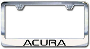 New Acura Chrome License Plate Frame Engraved Block Letters set Of 2