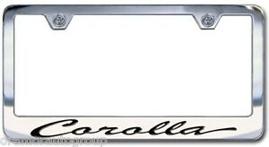 New Toyota Corolla Chrome License Plate Frame Engraved Script Letters Set Of 2