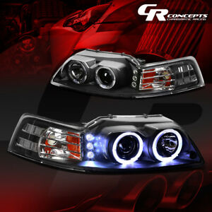 Pair Black Dual Halo Led Drl Projector Headlights Lh rh For 99 04 Ford Mustang