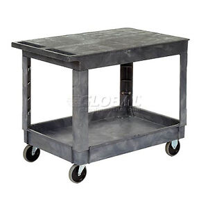 Best Value Plastic Flat Top Shelf Service amp Utility Cart 5 Inch Rubber