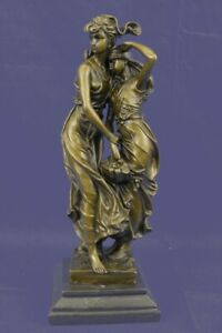 Decorative Signed Bronze Sculpture Mother Daughter Figurine Statue By Moreau