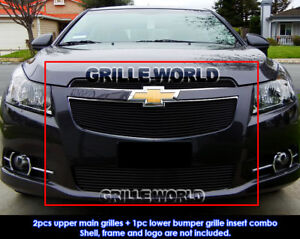 Aluminum Black Billet Grille Combo For 11 14 Chevy Cruze Lt Ltz Rs Pakage