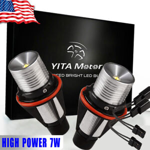 Yitamotor White 7w Led Angel Eyes Waterproof For Bmw E39 E53 E60 E61