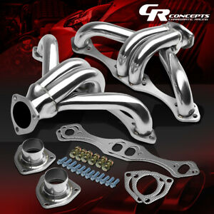 For Small Block Sbc 283 305 327 350 400 Chromed Hugger Header Exhaust Manifold