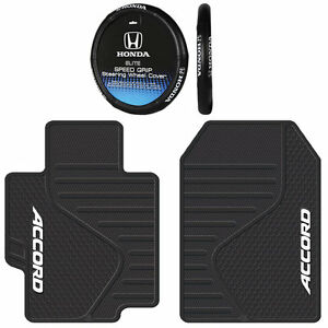Universal All Weather Rubber Front Floor Mats Steering Wheel Cover For Accord