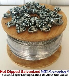 Aircraft Steel Cable Wire Rope 250 3 8 7x19 Galvanized Cable With Cable Clamps