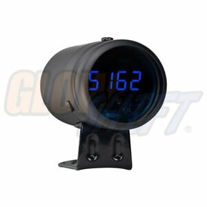 Glowshift Black Digital Tachometer Blue Led Shift Light