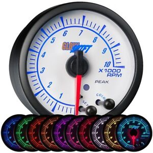 Glowshift White Elite 10 Color Tachometer Gauge Free Warning Light