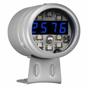 Glowshift Silver Digital Tachometer Blue Led Shift Light