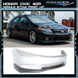 Fits 12 Honda Civic Md Style Front Bumper Lip Unpainted Black Pu