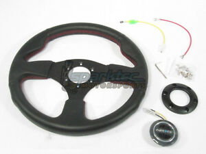 Nrg 320mm Sport Leather Steering Wheel Black W Red Stiching 3 Spoke Center