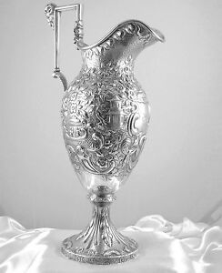 Finest Samuel Kirk Coin Silver Repousse Ewer Pitcher Chinese Etruscan C 1840