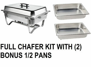 New Catering Chafer Set Bonus 2 Half Pans Chafing Stainless Full And Half Pans