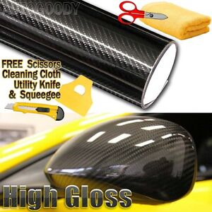 5d Premium High Gloss Black Carbon Fiber Vinyl Wrap Bubble Free Air Release 6d