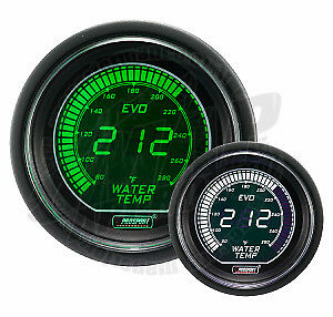 Prosport 52mm Evo Series Electrical Water Temperature Gauge Green