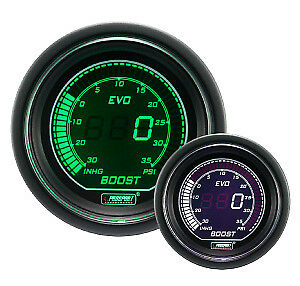 Prosport Evo Series Electrical Boost Gauge green White