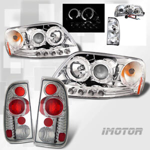 97 03 Ford F 150 F150 Led Halo Projector Chrome Headlights clear Tail Lights