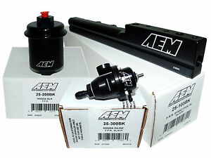 Aem High Volume Fuel Rail Adj Pressure Regulator Filter Honda B16a2 B16a3