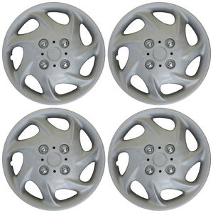 4pc Hub Cap Abs Silver 15 Inch Rim Wheel Cover Universal Hubcaps Covers Caps