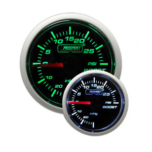 Prosport 52mm Mechanical Universal Boost Turbo Gauge green White