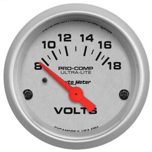 Auto Meter Voltmeter Gauge 4391 Ultra lite 8 To 18 Volts 2 1 16 Electrical